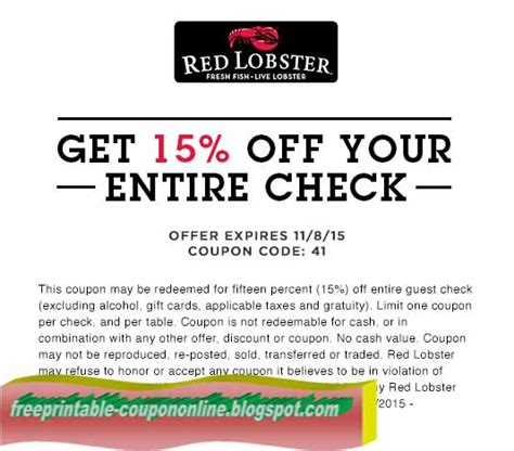 Printable Coupons For Lobster Restaurant