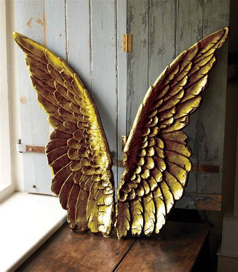 large gold angel wings wall art  parlane  maison white
