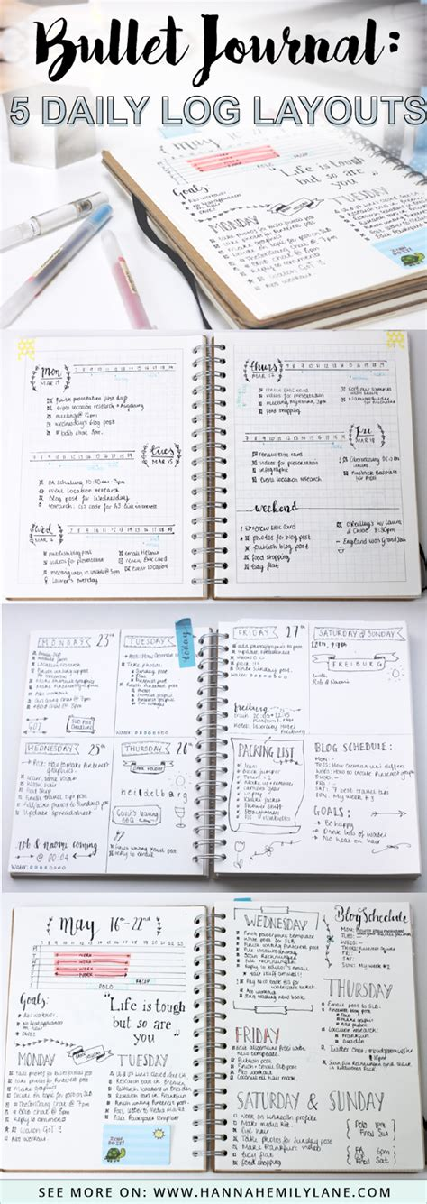 layout for journal hannahemilylane bullet journal 5 daily log layouts
