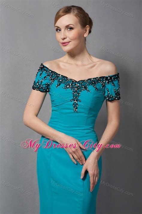 Teal Mermaid Off The Shoulder Floor length Chiffon Mother