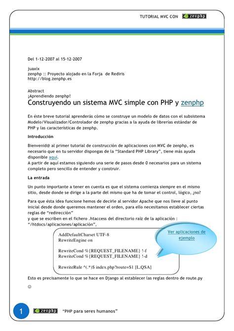 tutorial php framework mvc tutorial mvc zenphp programador php