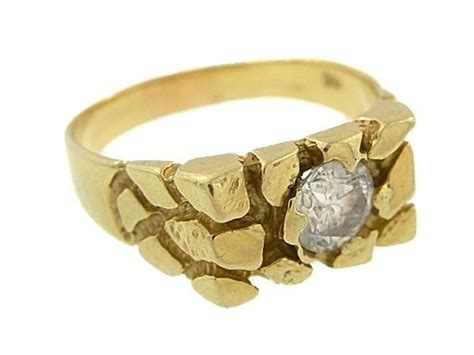 14k solid yellow gold nugget ring unisex ebay