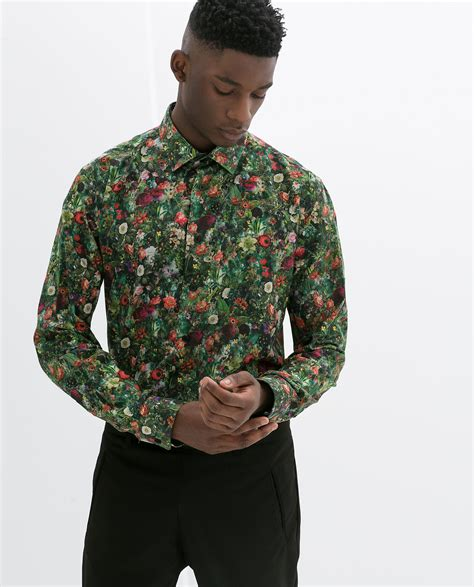Zara Shirt Flower zara floral print shirt in green for lyst