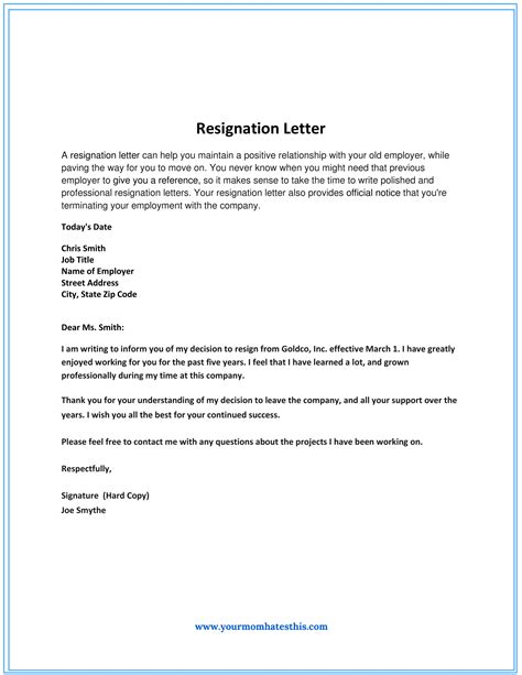 resignation letter templates templatedosecom