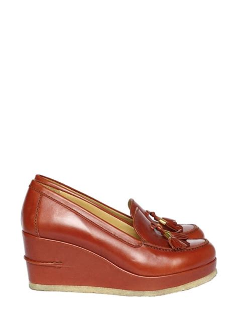 apc loafers louise apc brick leather wedge tassel loafers