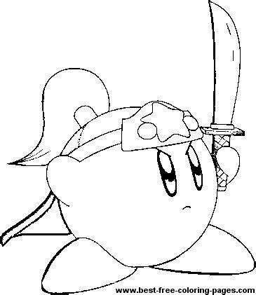 kirby characters coloring pages a great coloring page of kirby holding a sword kirby