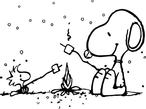 snoopy coloring pages snoopy and woodstock cing coloring page