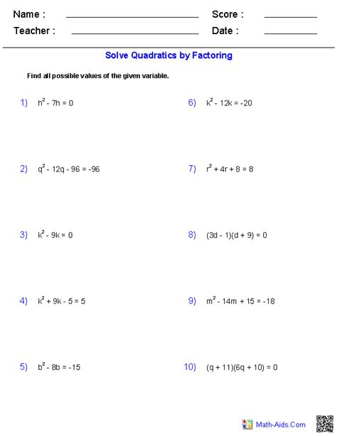 Worksheet Factoring Quadratics
