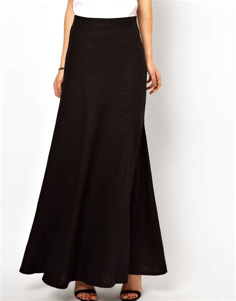 asos collection asos evening maxi skirt in black lyst