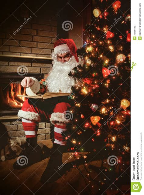 Santa Fireplace Picture by Santa Claus Stock Image Image Of Elderly Person
