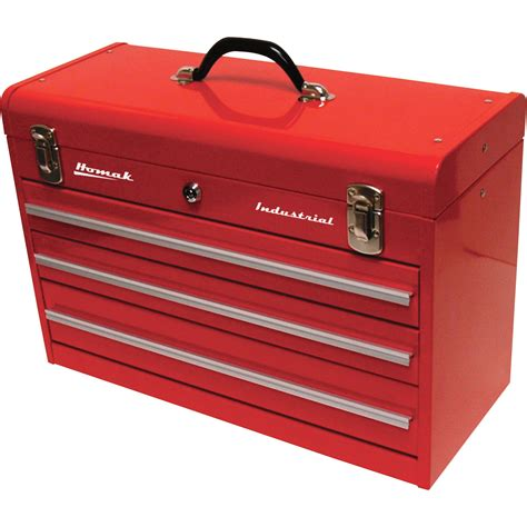 tool box homak 20in industrial 3 drawer steel toolbox red