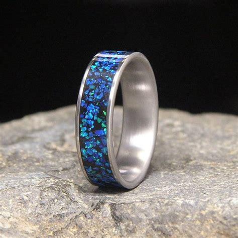 pacific blue lab opal inlay titanium wedding band or