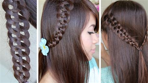 cute hairstyles with braids youtube 4 strand slide up braid hairstyle hair tutorial youtube