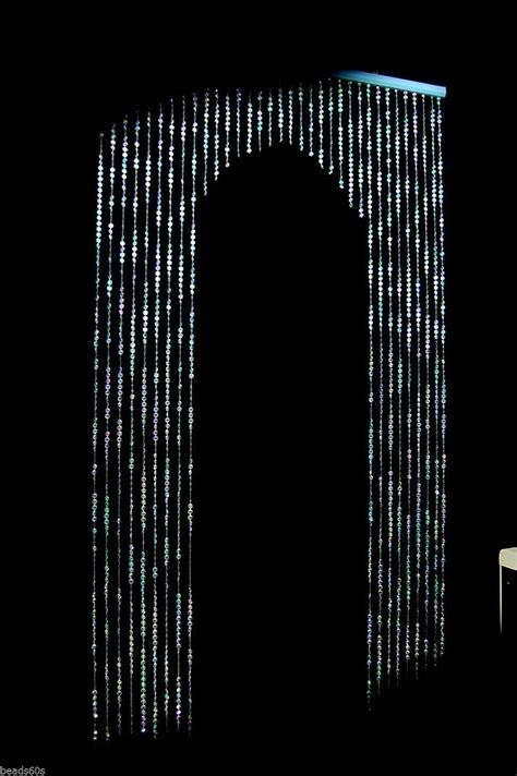 crystal door curtain archway light blue crystal beaded diamond cut windows