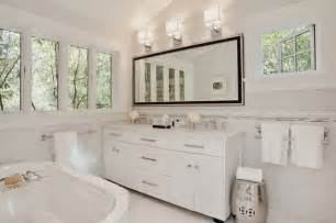 All White Vanity All White Innterior Design On Transitional Bathroom With