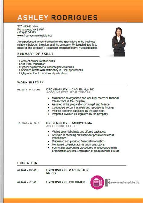 resume format download accounts executive account executive resume template free resume
