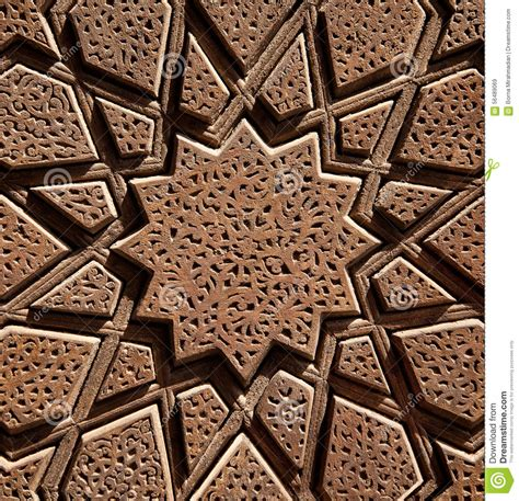 islamic wooden star shaped design carved  brown wood