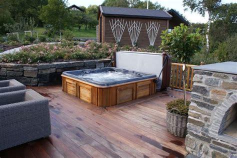 spa backyard designs 30 stunning garden hot tub designs