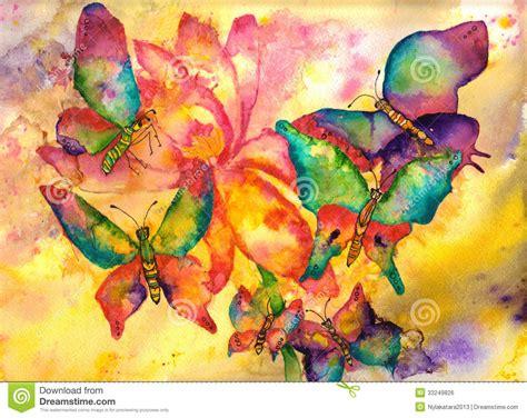 imagenes de mariposas abstractas pintura de la acuarela de las mariposas imagen de archivo