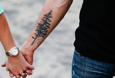 couple arm tattoos evergreen pine tree forearm ideas for at