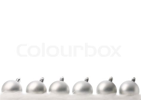 silver christmas balls with snow isolated on white stock