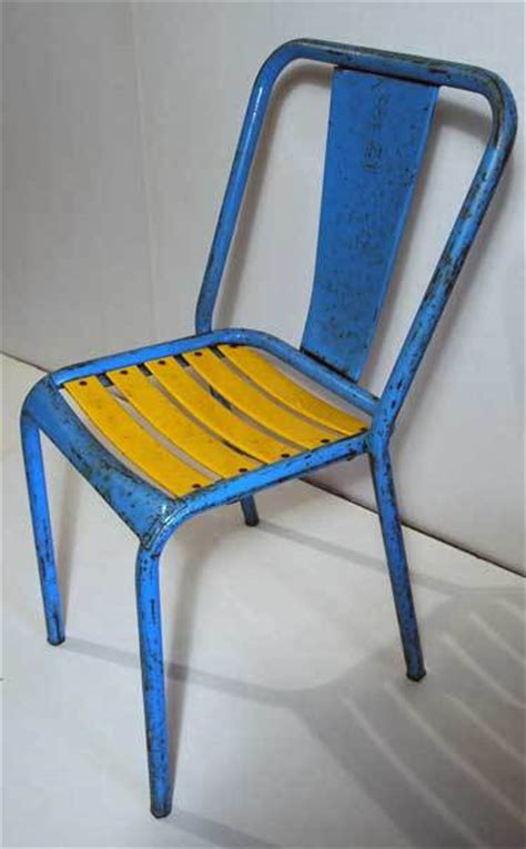 Yellow Bistro Chairs Blue And Yellow Painted Metal Bistro Chairs By Tolix At 1stdibs
