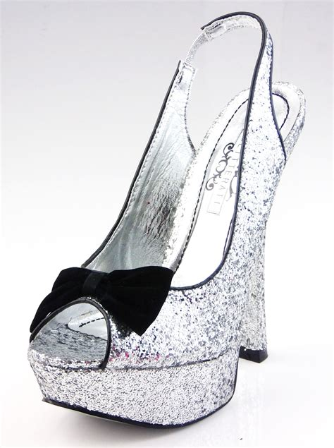 new stunning black glitter high heels