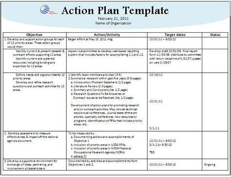 stunning action plan template sle with company logo and