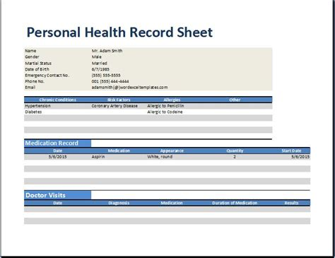 free personal health record template personal health record worksheet template word