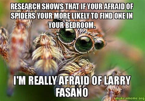 Afraid Of Spiders Meme - research shows that if your afraid of spiders your more