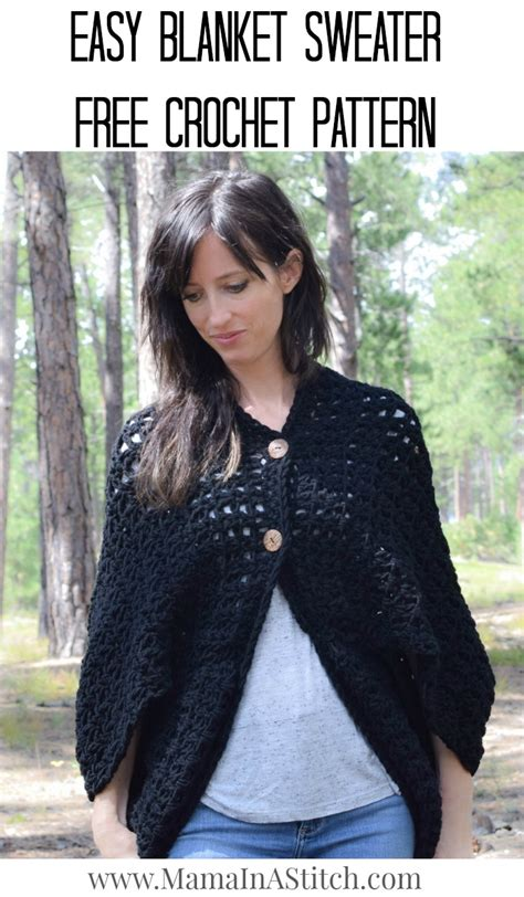 tutorial pashmina dijadikan cardigan easy blanket sweater crochet pattern via mamainastitch
