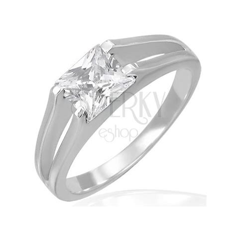 engagement ring square zircon in line band