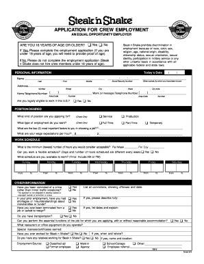 Printable Job Application For Steak And Shake | steak and shake application filled out fill online