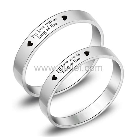 engraved titanium matching promise eternity rings set for