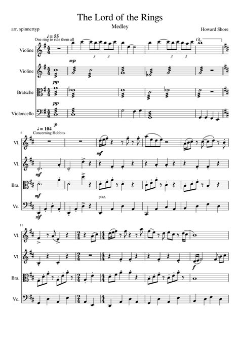 theme song lord of the rings the lord of the rings medley sheet music for strings