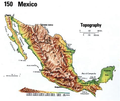 topographic map mexico topographical map of mexico mexico map