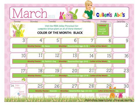 Kindergarten Themes For March   march 2013 free online preschool calendar online