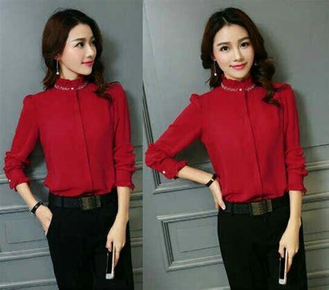 Kemeja Wanita Atasan Baju Polos Merah Hem Shirt Longshirt Blouse model baju hem wanita warna merah dan hitam polos terbaru