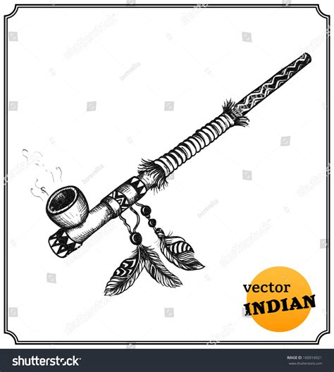 Native American Indian Smoking Pipe Sketch Stock Vector 160916921   Shutterstock