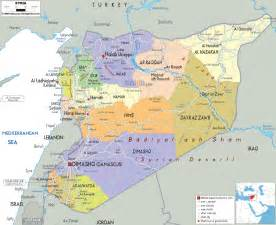 in the map detailed political map of syria ezilon maps