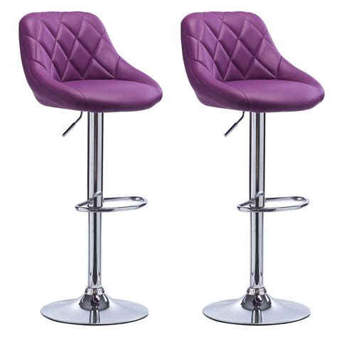 bar stools purple 2 x bar stools faux leather swivel breakfast kitchen stool