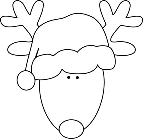 reindeer with santas hat template new calendar template site black and white santa clip art new calendar template site