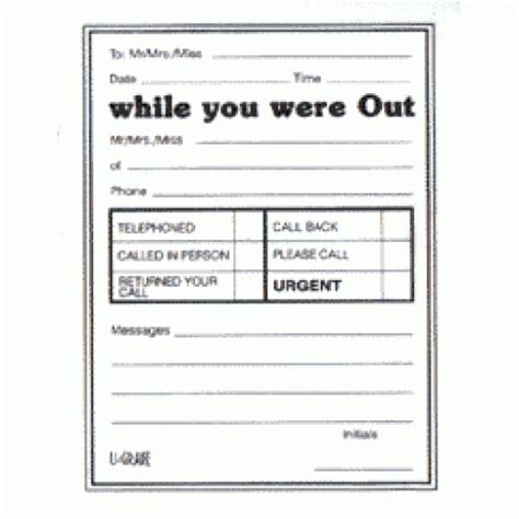while you were out template message pads while you were out message templates