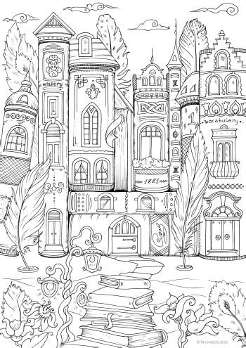 Book Houses - Printable Adult Coloring Pages from Favoreads