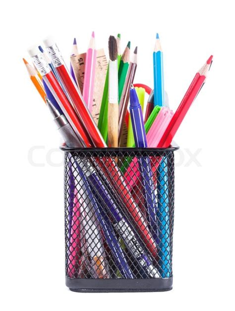 Pencil Holder For Desk by Stationary Stock Photo Colourbox