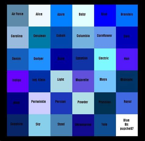 blue color names different types of the color blue my web value