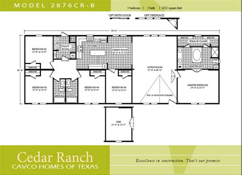 wide floor plans 5 bedroom manufactured homes 5