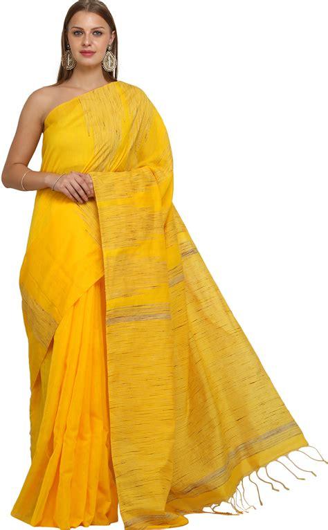 Sari Lemon lemon chrome purbasthali sari from bengal with jute weave