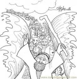 Printable Of Moses And Children Israel Crossing Red Sea sketch template