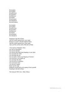 printable lyrics hall of fame hall of fame lyrics fill in the gaps worksheet free esl